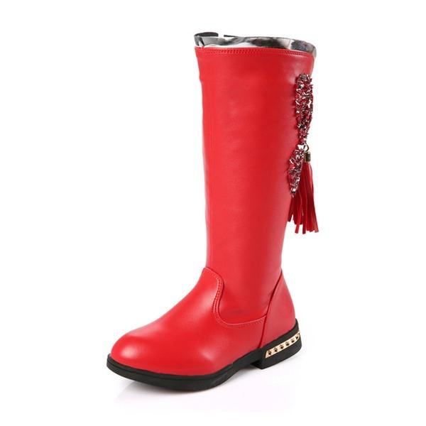 Jentas Round Toe Lukket Tå Mid Leggen Støvler Leather flat Heel Flate sko Støvler Flower Girl Shoes med Tassel Glidelås
