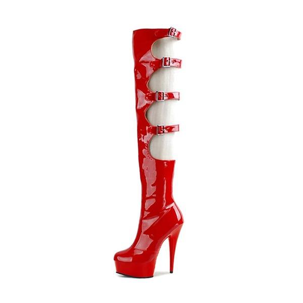 Kvinnor Lackskinn Stilettklack Pumps Plattform Knäkickkängor med Spänne skor