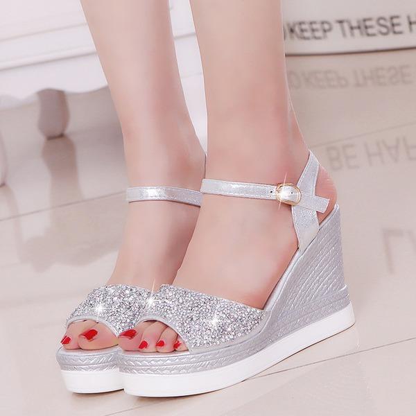 Kadın PU Dolgu Topuk Sandalet Pompalar Platform Takozlar Ile Yapay elmas ayakkabı