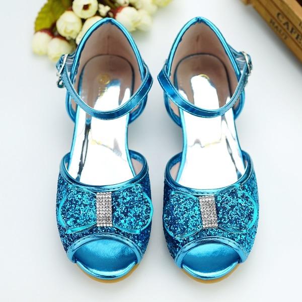 Flicka Peep Toe konstläder låg klack Pumps Flower Girl Shoes med Spänne Paljetter Glittrande Glitter Kardborre