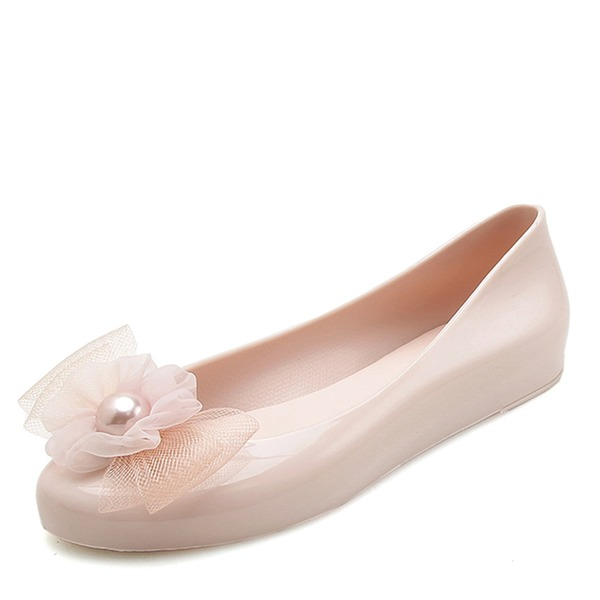 Femmes PVC Chaussures plates Bout fermé avec Une fleur chaussures
