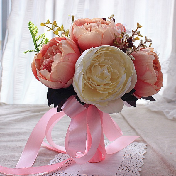 El bağladılar ipek Çiçek Gelin buketleri/Nedime Buketleri (Tek bir parça olarak satılan) -