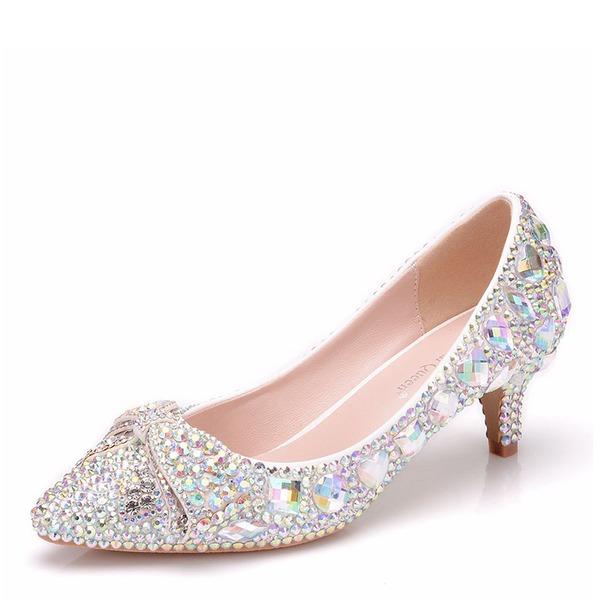 Vrouwen Kunstleer Low Heel Closed Toe Pumps Sandalen met Kristal