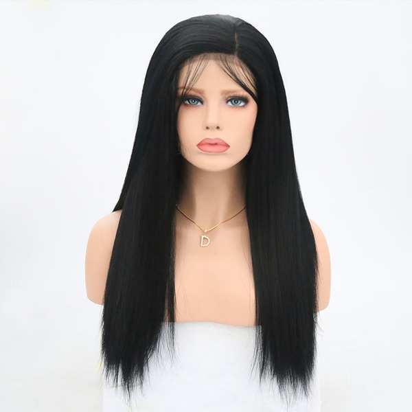 Yaki Straight Synthetic Hair Lace Front Wigs