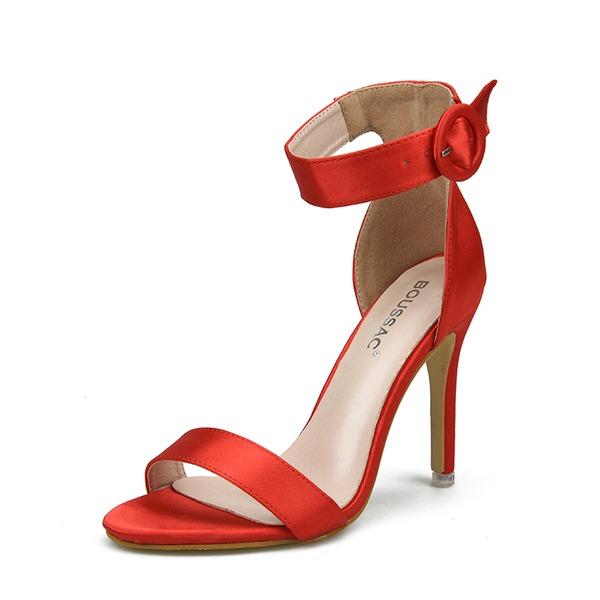 Femmes Satiné Talon stiletto Sandales À bout ouvert avec Boucle chaussures
