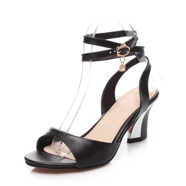 Vrai cuir Talon bottier Sandales Escarpins avec Boucle chaussures