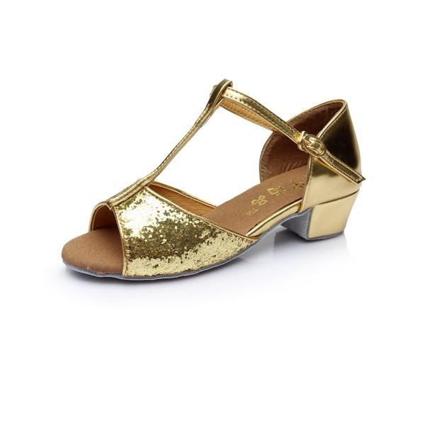Детская обувь Мерцающая отделка На каблуках Сандалии Латино с Т-ремешок Обувь для танцев