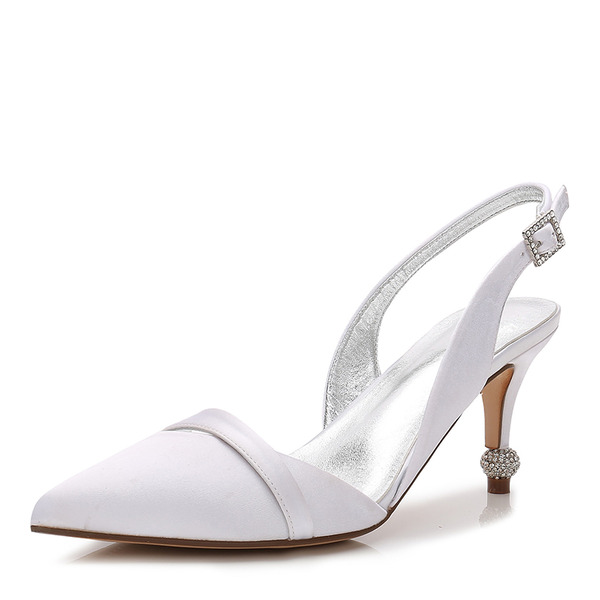 Women's Silk Like Satin Stiletto Heel Closed Toe Slingbacks