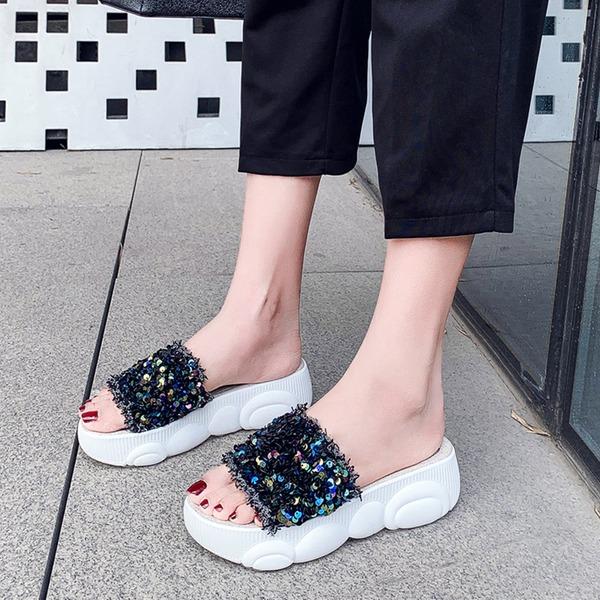 Женщины ткань Вид каблука Сандалии Платформа Открытый мыс с блестками обувь