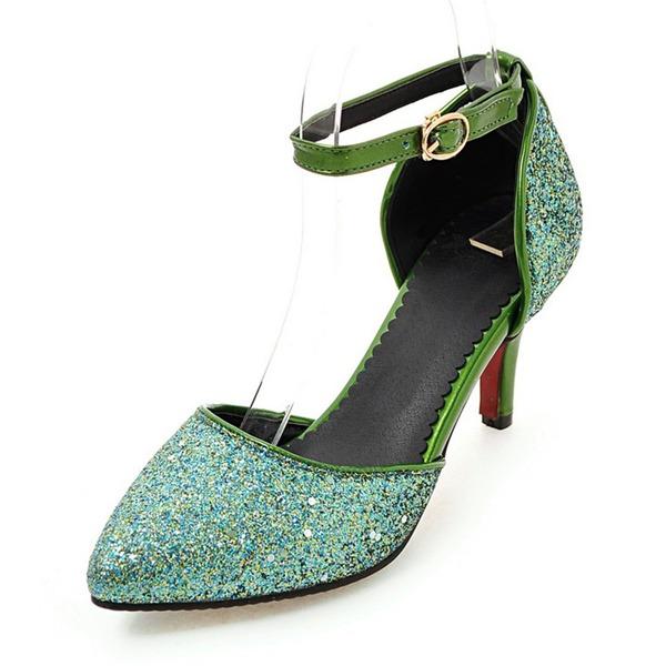 Женщины PU Высокий тонкий каблук На каблуках Закрытый мыс с блестками обувь