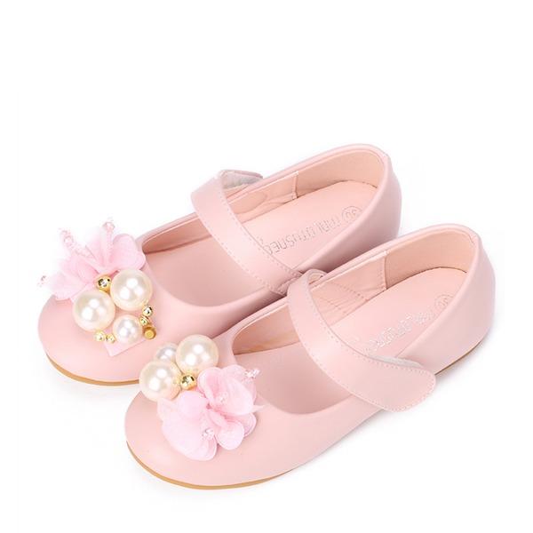 A menina de Fechados imitação de couro Heel plana Sem salto Sapatas do florista com Pérola Imitação Velcro Flor