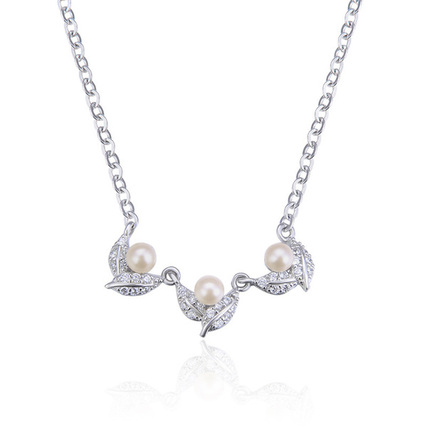 Ladies' Classic 925 Sterling Silver With Cubic Cubic Zirconia/Imitation Pearls Necklaces For Mother/For Friends