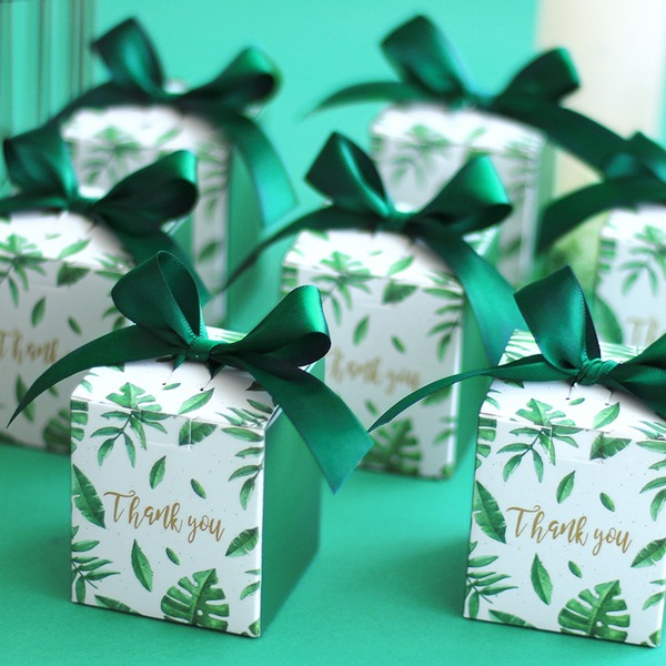 Pretty Floral Theme Cubic Card Paper Favor Boxes & Containers With Ribbons (Set of 20)