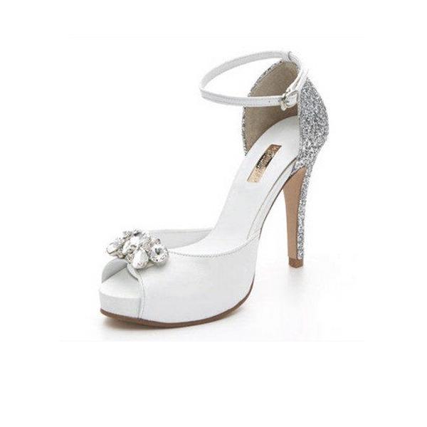 Femmes Vrai cuir Talon stiletto À bout ouvert Plateforme Sandales Beach Wedding Shoes avec Strass Pailletes scintillantes