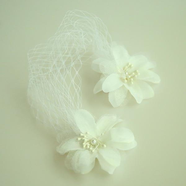 Damer Vackra Och Netto garn/Siden blomma Panna smycken