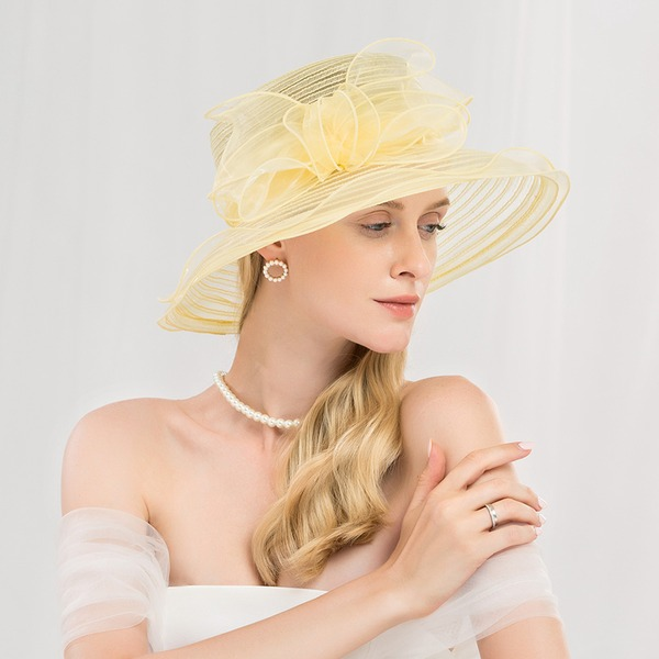 Dames Mode/Simple/Romantique/Style Vintage Polyester Disquettes Chapeau/Kentucky Derby Des Chapeaux/Chapeaux Tea Party
