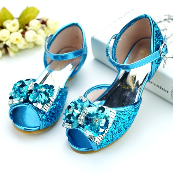 Flicka Peep Toe konstläder låg klack Pumps Flower Girl Shoes med Bowknot Spänne Strass Paljetter Glittrande Glitter