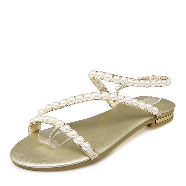 Donna Similpelle Senza tacco Sandalo Ballerine con Perla imitazione scarpe
