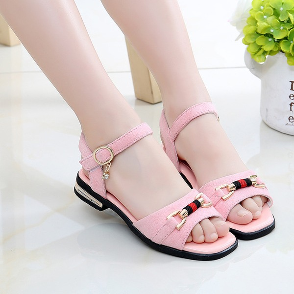 Girl's Peep Toe Leatherette Sandals Flats With Button
