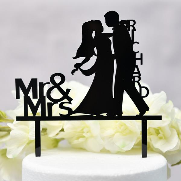 personnalisé Couple classique/Mr & Mrs Acrylique Décoration pour gâteaux (Vendu dans une seule pièce)
