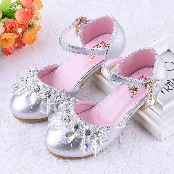 Mädchens Round Toe Geschlossene Zehe Leder niedrige Ferse Blumenmädchen Schuhe mit Klettverschluss Kristall