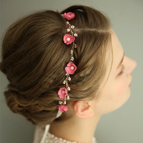Filles Magnifique De faux pearl/Fleur en soie Bandeaux avec Perle Vénitienne (Vendu dans une seule pièce)