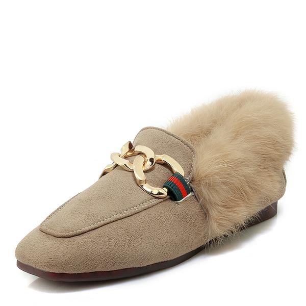 Frauen Veloursleder Flascher Absatz Flache Schuhe Mary Jane mit Schnalle Schuhe