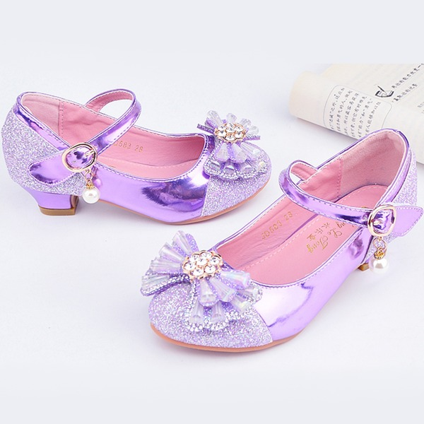 Fille de bout rond Bout fermé similicuir Chaussures de fille de fleur avec Bowknot
