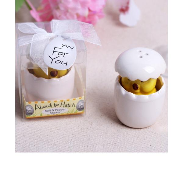 Cute Animal Ceramic Salt & Pepper Shakers With Ribbons (Set of 20)