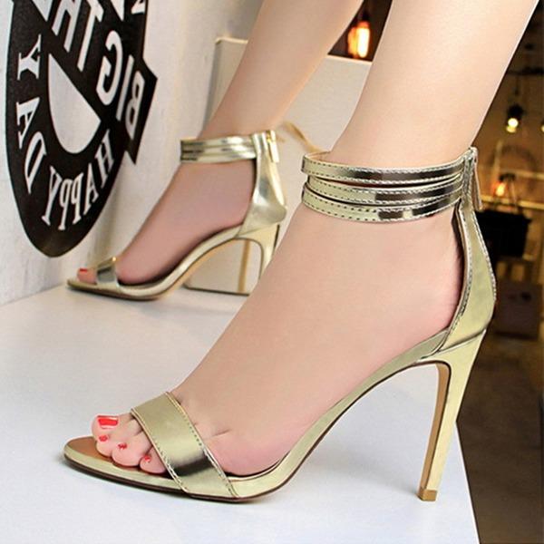 Frauen Kunstleder Stöckel Absatz Peep-Toe Absatzschuhe Sandalen mit Reißverschluss