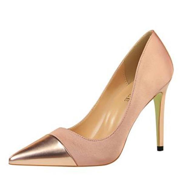 Kvinnor Silke Stilettklack Pumps Stängt Toe Mary Jane med Split gemensamma skor