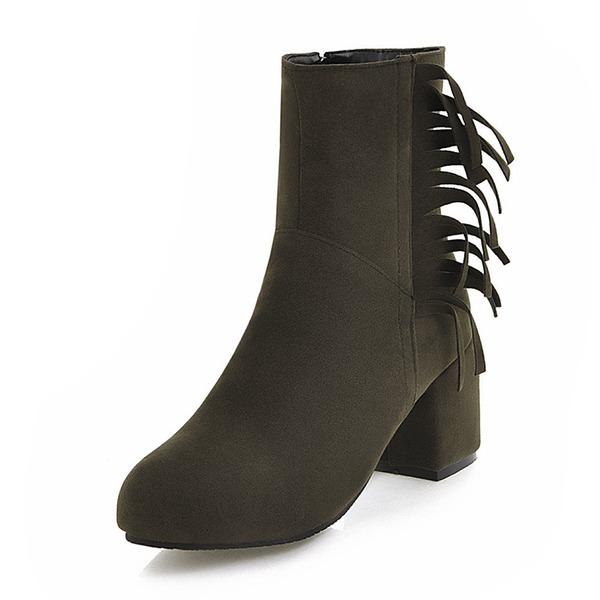 Kvinner Semsket Stor Hæl Pumps Støvler Mid Leggen Støvler med Tassel sko