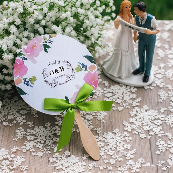 Personalized Pearl Paper Hand Fans With Ribbons (Set of 5)