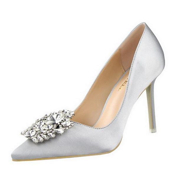 Femmes Satiné Talon stiletto Escarpins Bout fermé avec Strass chaussures