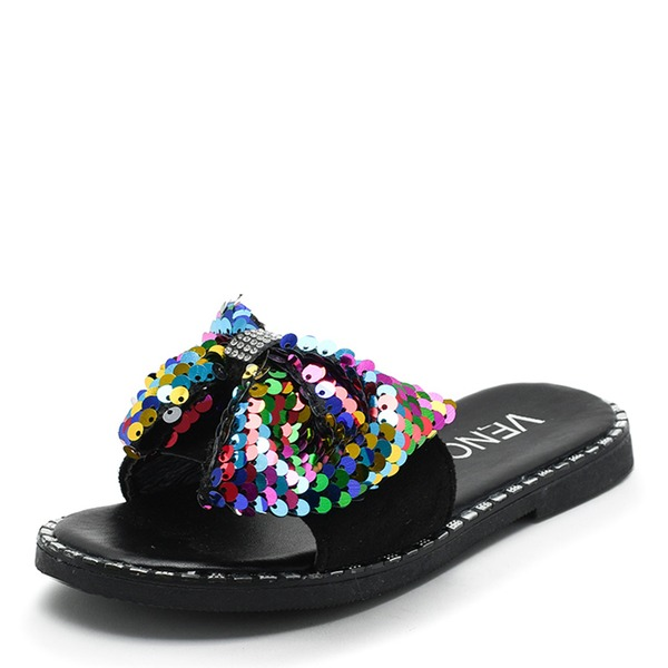 Unisex Leatherette Flats Slippers With Bowknot Sequin