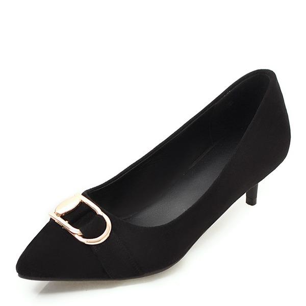 Donna Camoscio Tacco basso Punta chiusa con Fibbia scarpe