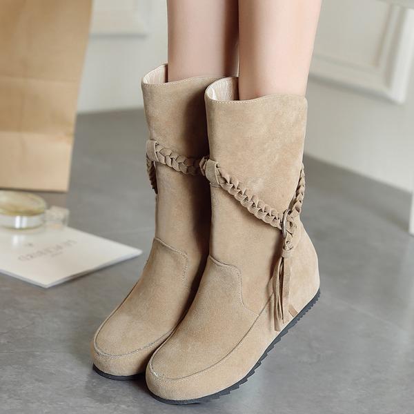 Frauen Veloursleder Flascher Absatz Flache Schuhe Geschlossene Zehe Stiefel Stiefel-Wadenlang mit Geflochtenes Band Schuhe