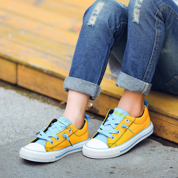 Unisexmodell Lerret flat Heel Round Toe Flate sko med Blondér