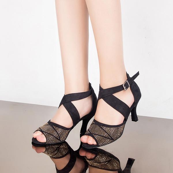 Mulheres Camurça Saltos Sandálias Latino com Strass Correia de Calcanhar Sapatos de dança