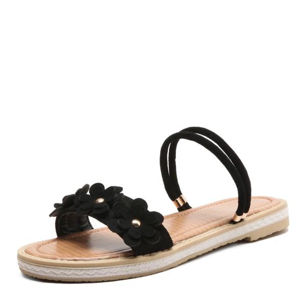Vrouwen Microfiber leer Flat Heel Sandalen Flats met Bloem schoenen
