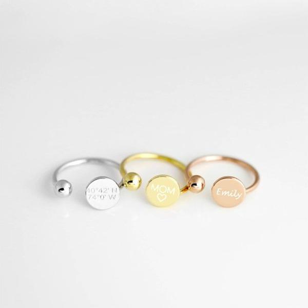 Personalizado Casais ' Chic 925 prata esterlina Nome/Gravado/Barra Anéis Ela/Amigos/Noiva/Dama de honra/Menina das flores