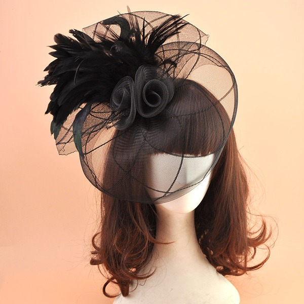 Ladies ' Vintage Organzastof med Fjer Fascinators