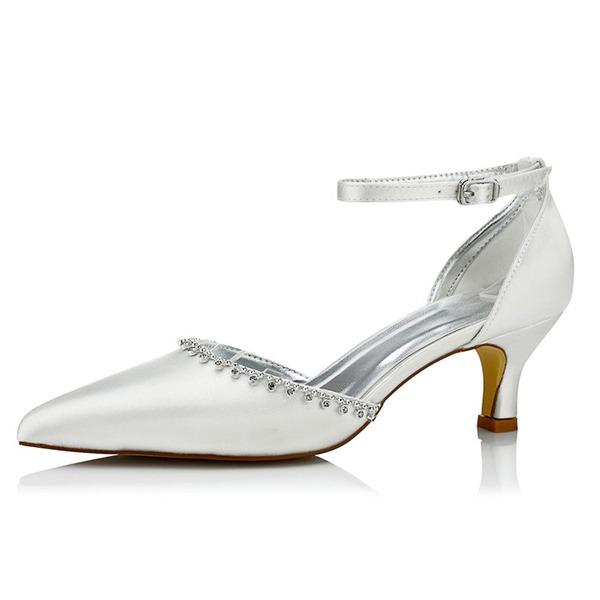Kadın Saten Alçak Topuk Pompalar Boyanabilir ayakkabılar Ile Yapay elmas