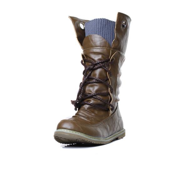 Vrouwen Kunstleer Flat Heel Closed Toe Half-Kuit Laarzen met Gevlochten Riempje schoenen