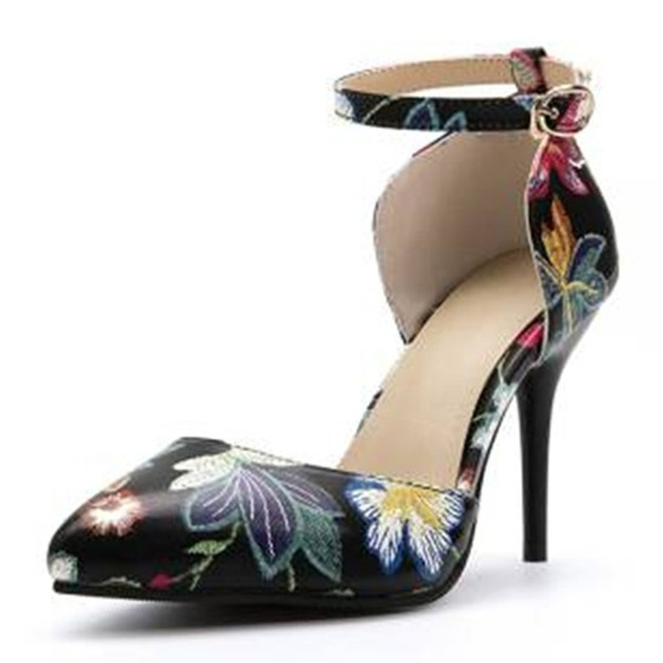 Women's Leatherette Stiletto Heel Sandals Pumps Closed Toe With Flower shoes
