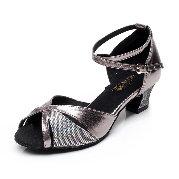 Kvinder Kunstlæder Hæle sandaler Latin med Ankel Strop Dansesko