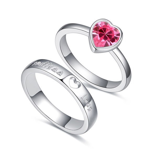 Heart Shaped Alloy Crystal With Imitation Crystal Unisex Fashion Rings (Set of 2)