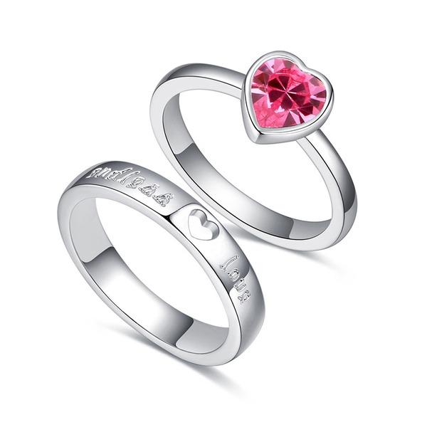 Hart Gevormd Legering Kristal met Imitatie Kristal Uniseks Fashion Ringen (Set van 2)