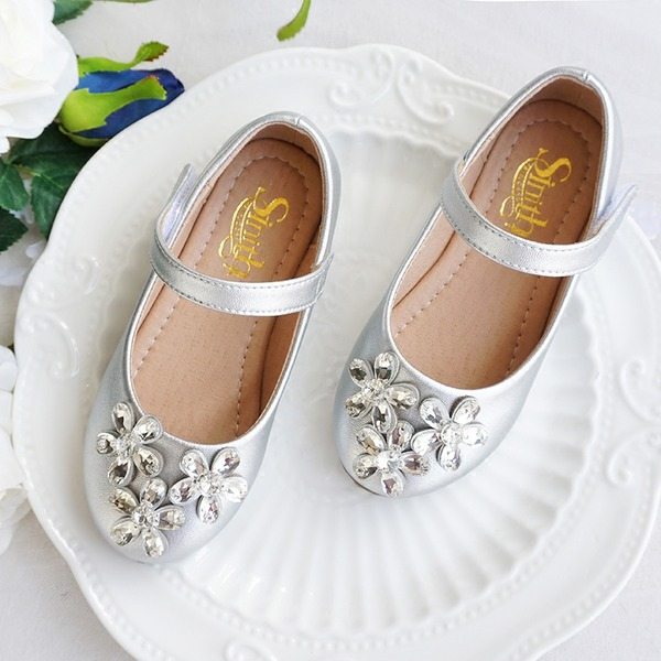 Girl's Round Toe Closed Toe Leatherette Flat Heel Flats Flower Girl Shoes With Crystal