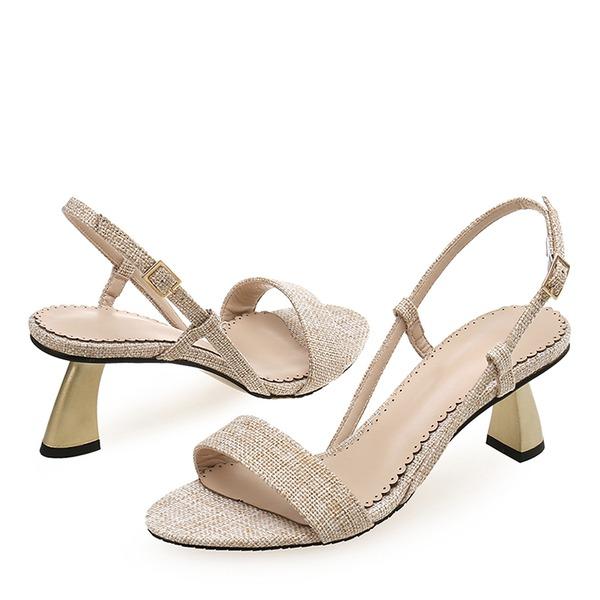 Naisten Kangas PU Piikkikorko Sandaalit Peep toe jossa Solki kengät